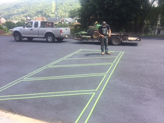 painting the parking lot