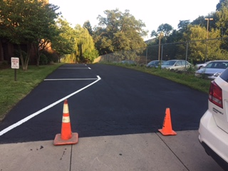lined and sealed parking lot